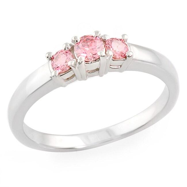 14k White Gold 1/2ct TDW Pink Diamond 3-stone Ring