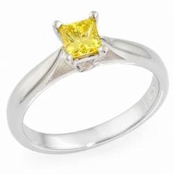 14k White Gold 1/3ct TDW Yellow Diamond Solitaire Ring
