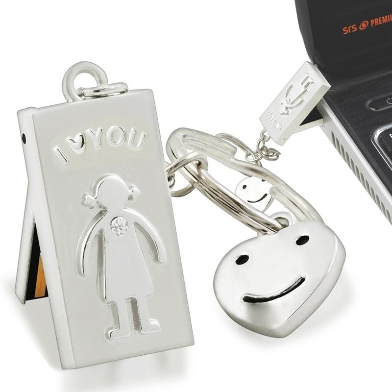 8GB Silver –I Love You– USB Flash Drive Keychain