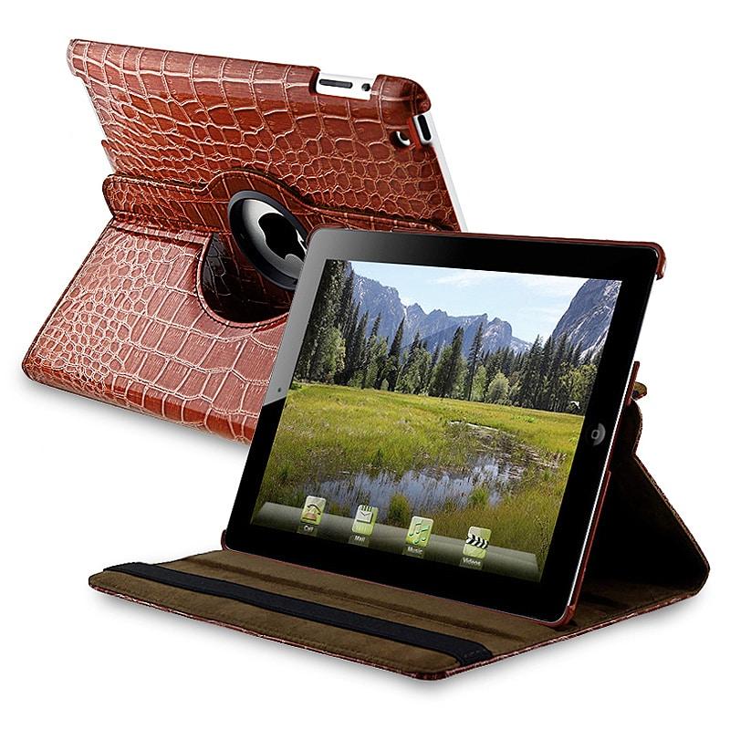 Brown Crocodile Skin 360-degree Swivel Leather Case for Apple iPad 2