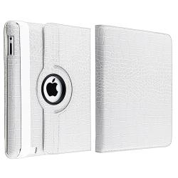 White Crocodile Skin 360-degree Swivel Leather Case for Apple iPad 2