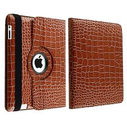 Brown Crocodile Skin 360-degree Swivel Leather Case for Apple iPad 2
