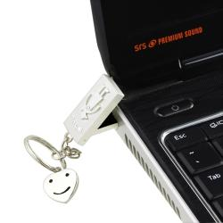 8GB Silver ?I Love You? USB Flash Drive Keychain