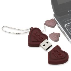 4GB Brown Heart Shaped -Love- USB Flash Drive Keychain