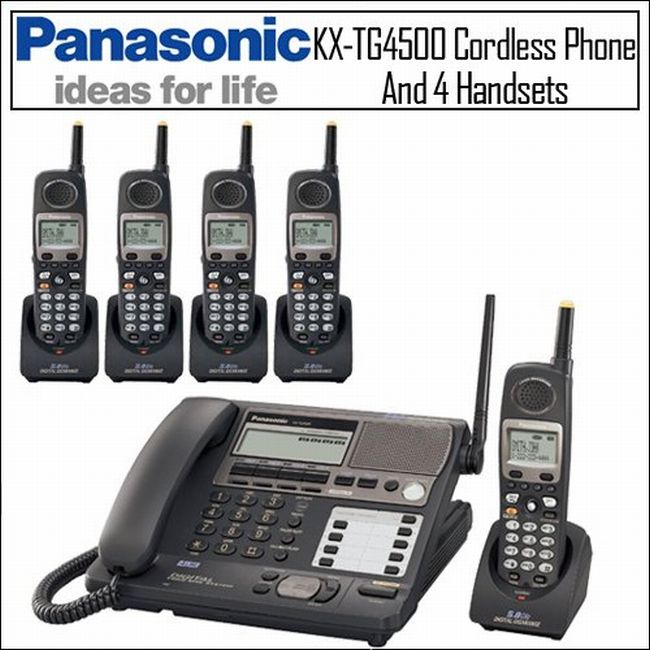 Panasonic KX-TG4500 Cordless Phone with 5 Handsets