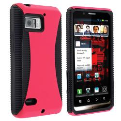 Black TPU/ Hot Pink Hard Hybrid Case for Motorola Droid Bionic XT875