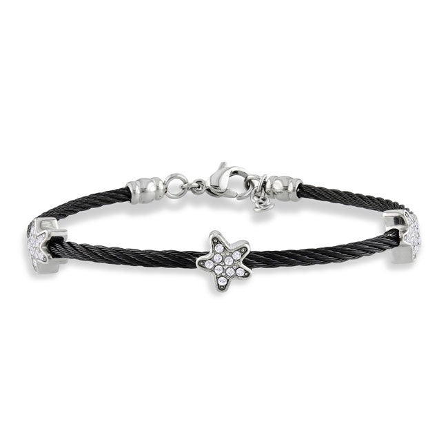 Miadora Stainless Steel Cubic Zirconia Star Station 7-inch Cable Bracelet