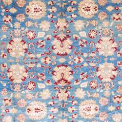 Afghan Hand-knotted Vegetable Dye Oushak Blue/ Burgundy Wool Rug (9'2 x 12')