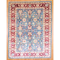Afghan Hand-knotted Vegetable Dye Oushak Blue/ Burgundy Wool Rug (9'2 x 12')