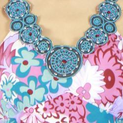Meetu Magic Women's Floral Print Beaded Halter Dress