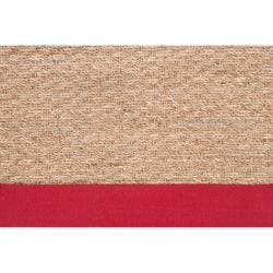 Hand-woven Beige Chowen Natural Fiber Seagrass Cotton Border Rug (5' x 8')