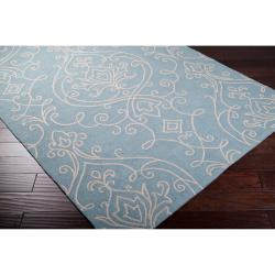 Hand-hooked Blue Isleta Indoor/Outdoor Damask Print Rug (9' x 12')