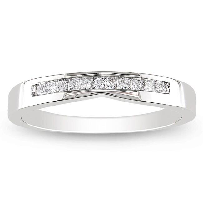 Miadora 14k White Gold 1/3ct TDW Princess Diamond Ring (G-H, I1)