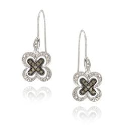 DB Designs Sterling Silver 1/5ct TDW Champagne Diamond Flower Earrings