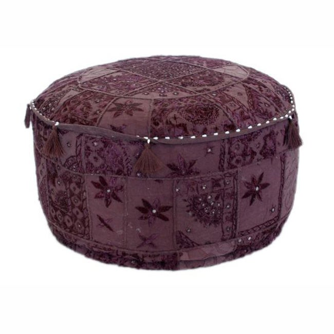nuLOOM Handmade Casual Living Indian Round Purple Pouf