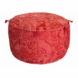 nuLOOM Handmade Casual Living Indian Round Red Pouf