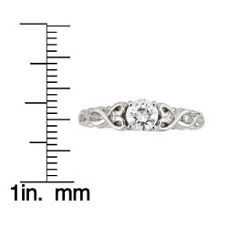 14k White Gold 5/8ct TDW Round Diamond Heart Twist Ring