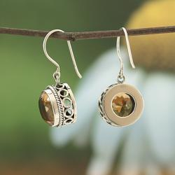 Sterling Silver Citrine Bali Dangle Earrings (Indonesia)