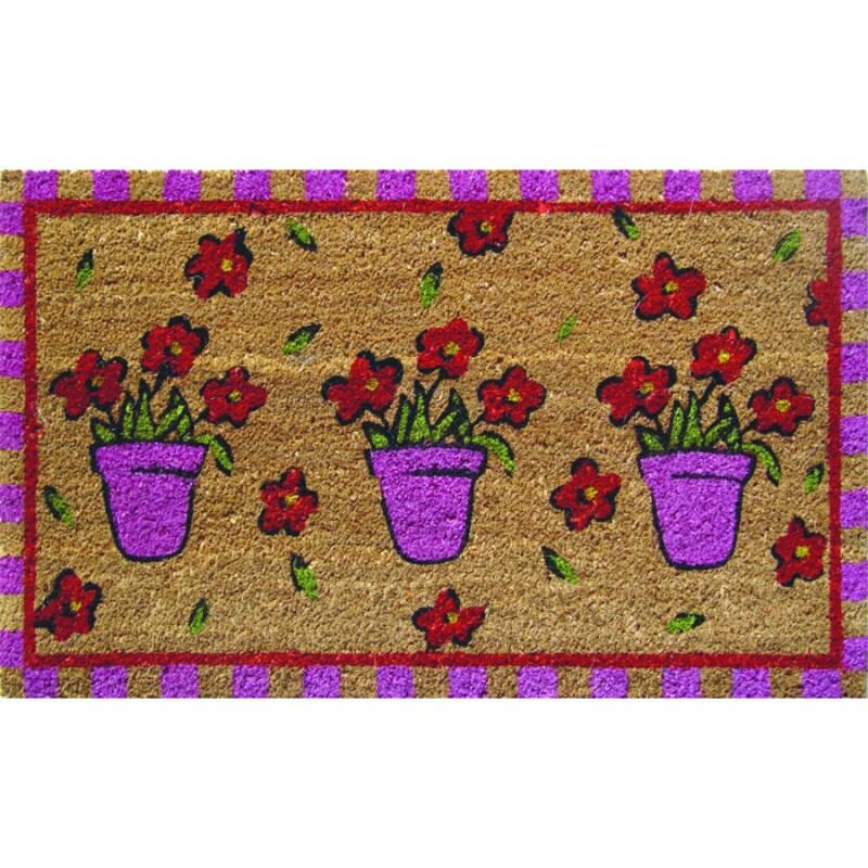 Purple Pots Hand Woven Coir Doormat