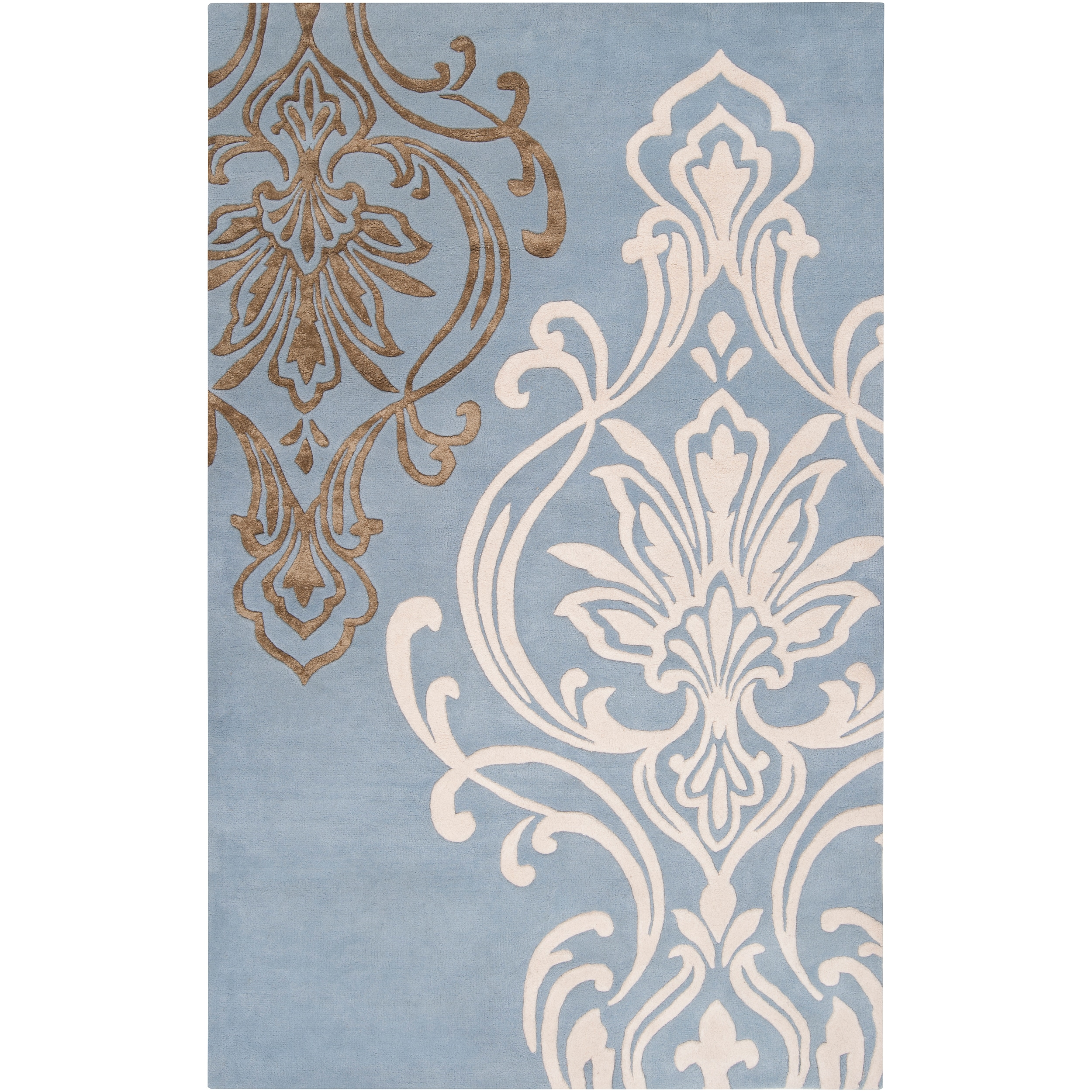 Candice Olson Hand-tufted Blue Pandora Damask Design Wool Rug (3'3 x 5'3)