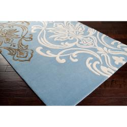Candice Olson Hand-tufted Blue Pandora Damask Design Wool Rug (3'3 x 5'3)