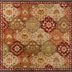 Hand-tufted Red Alum Wool Rug (9'9 Square)