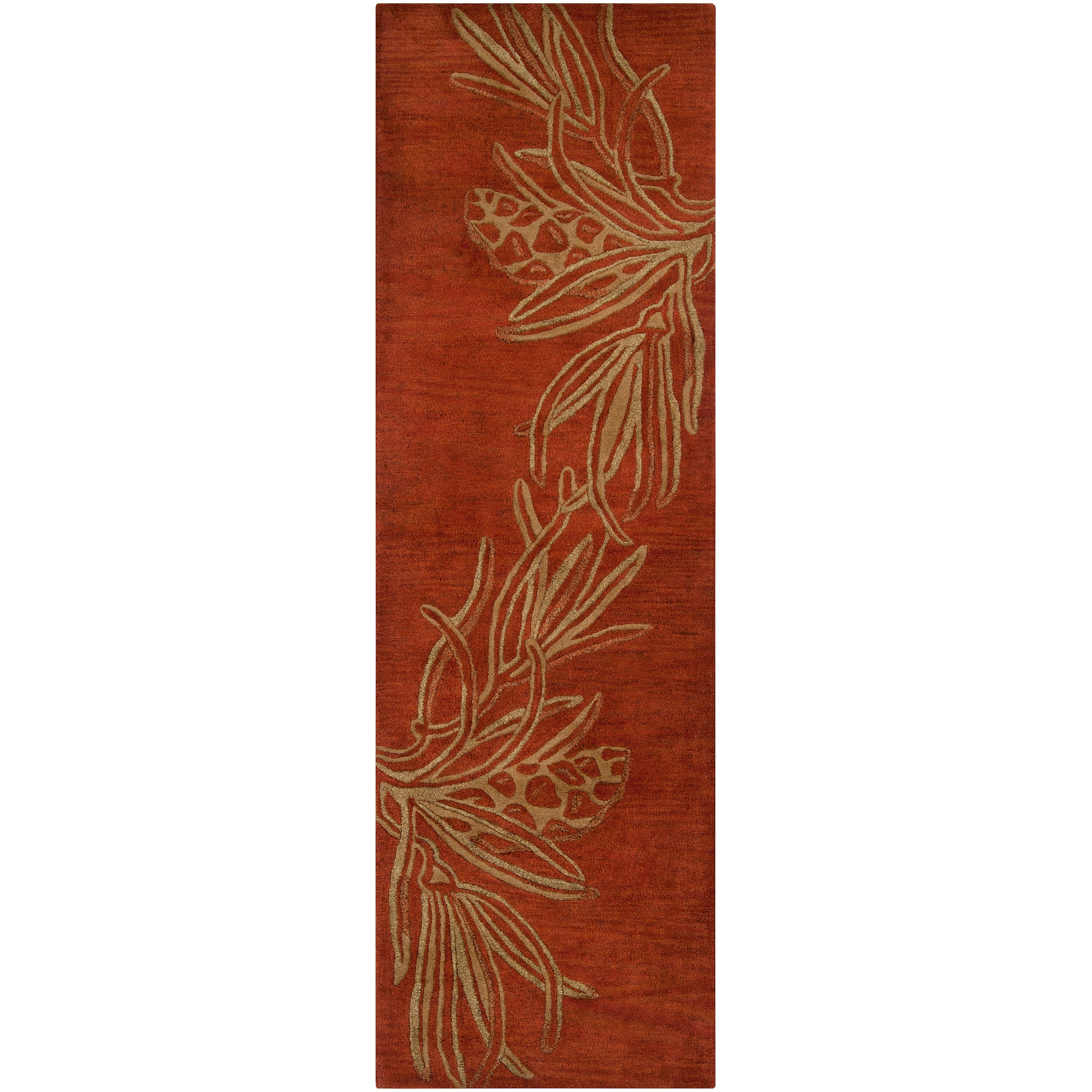 Hand-tufted Red Mahal New Zealand Wool Rug (2'6 x 8')