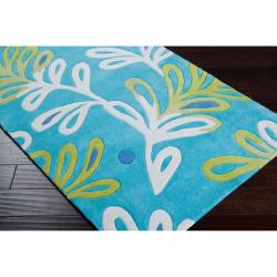 Hand-tufted Blue Pagoda Rug (4'10 x 7')