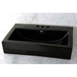 Vitreous China Black Rectangular Vessel Bathroom Sink