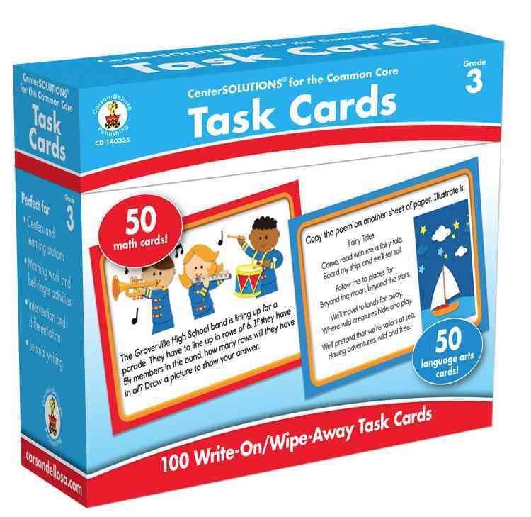 Task Cards, Grade 3: 50 Math Cards/ 50 Language Arts Cards (Cards)