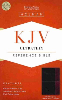Holy Bible: King James Version Ultrathin Reference Bible, Black/Burgundy, Leathertouch (Paperback)