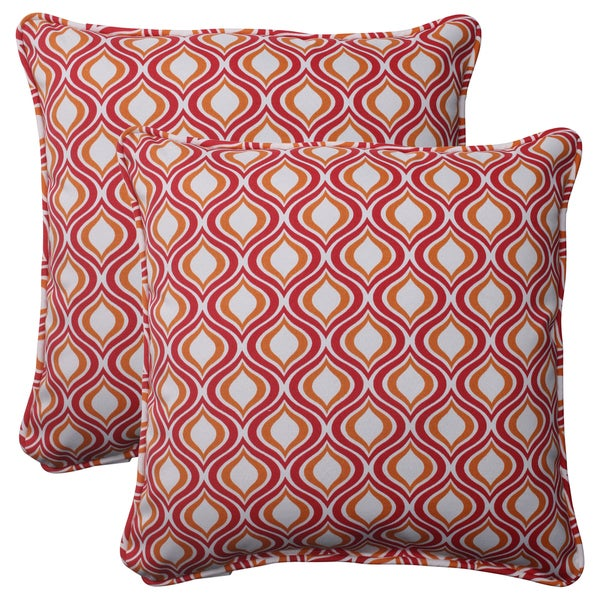 Pillow Perfect Pink/Orange Outdoor Zinger Corded 18.5-inch Throw Pillow (Set of 2)