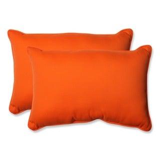 Pillow Perfect Orange Outdoor Sundeck Corded Oversized Rectangular Throw Pillows (Set of 2)