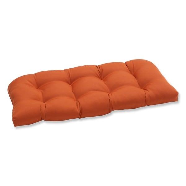 Pillow Perfect Outdoor Cinnabar Wicker Loveseat Cushion in Burnt Orange