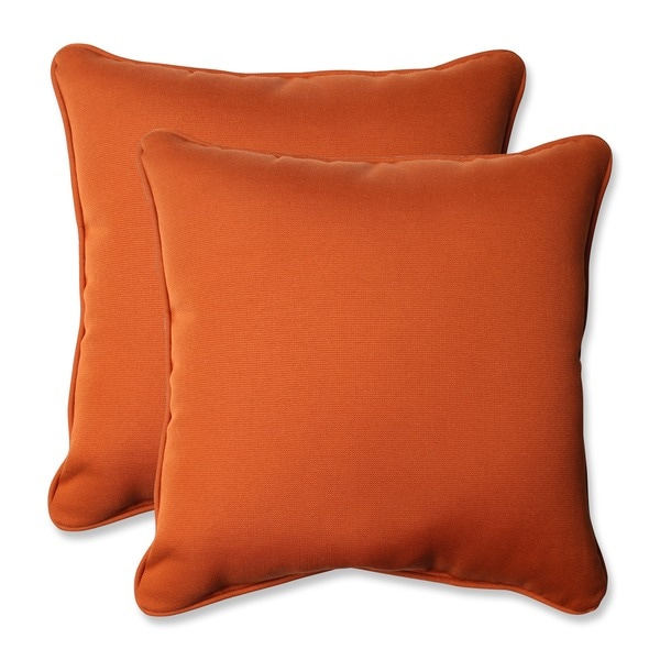Pillow Perfect Burnt Orange Outdoor Cinnabar Corded Throw Pillow (Set of 2) - 15207929 ...