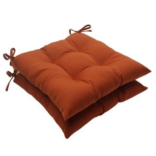 Pillow Perfect Outdoor Cinnabar Tufted Seat Cushion in Burnt Orange (Set of 2)