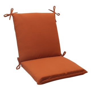 Pillow Perfect Outdoor Cinnabar Squared Chair Cushion in Burnt Orange