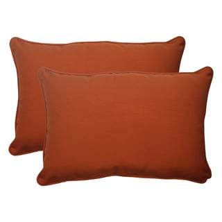 Pillow Perfect Outdoor Cinnabar Corded Oversized Rectangular Throw Pillow in Burnt Orange (Set of 2)