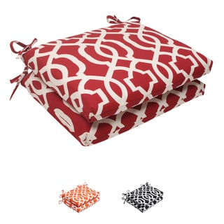 Pillow Perfect Red Outdoor New Geo Squared Seat Cushion (Set of 2)