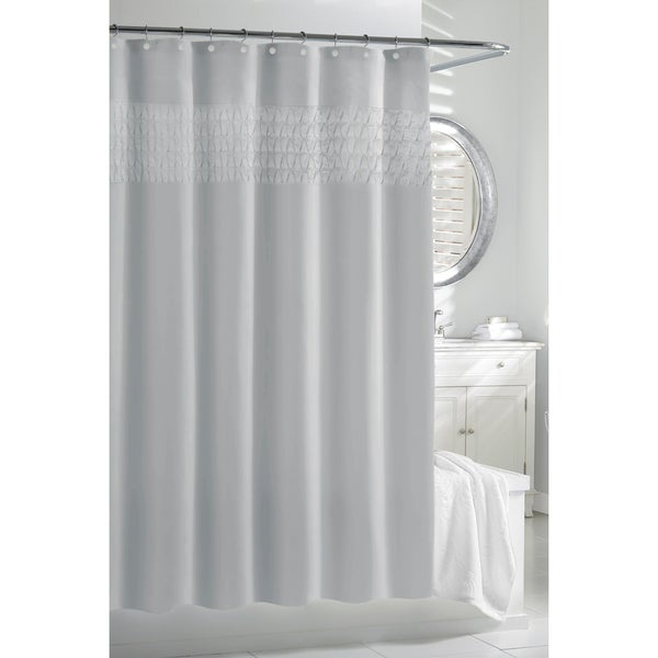 Spa Blue Smocked Pleats Shower Curtain