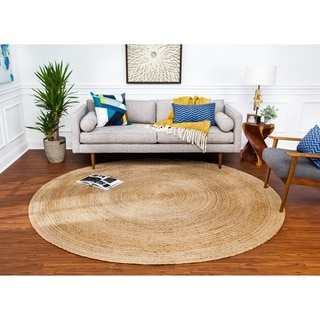 Handwoven Tara Braided Natural Jute Rug (8&#39; Round)