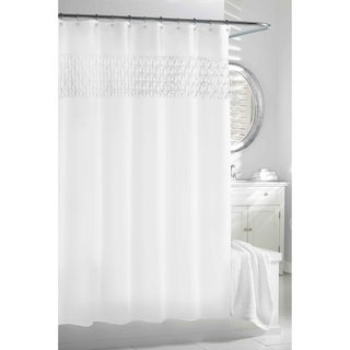 White Smocked Pleats Shower Curtain