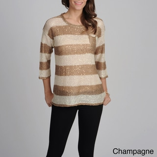 Yal New York Women's Striped Sequin Embellished Top