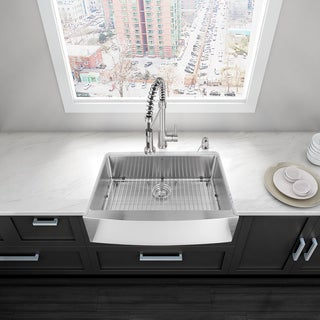 30-inch Farmhouse Stainless Steel 16 Gauge Single Bowl Kitchen Sink