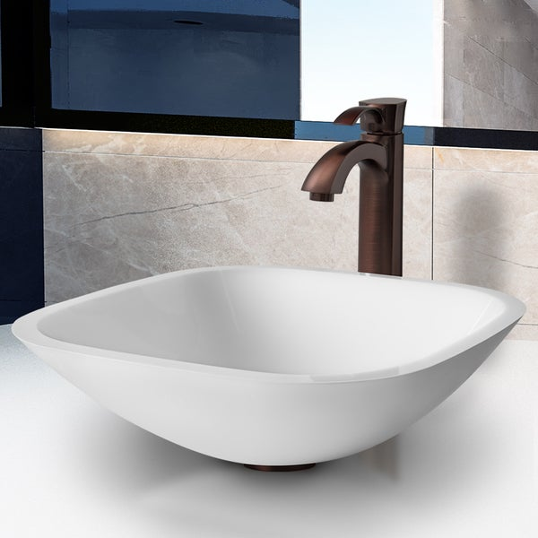 Vigo Square Shaped White Phoenix Stone Glass Vessel Sink with Oil Rubbed Bronze Faucet