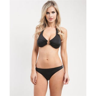 Stanzino Women's Black Center Ring Halter Bikini