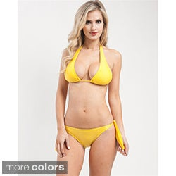 Stanzino Women's Solid Fully Lined Halter Bikini Set