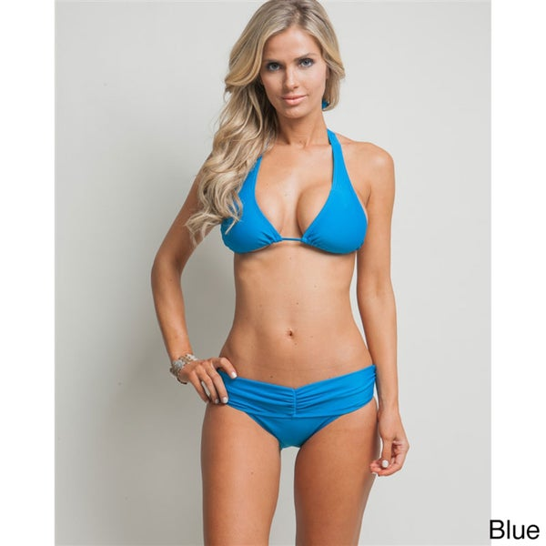 Stanzino Women's Solid Halter Bikini Set