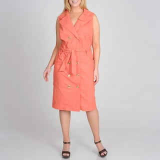 Sharagano Women's Plus Size Coral Double Breasted Shirtdress