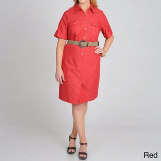 Sharagano Women's Plus-Size Unlined Belted Shirtdress